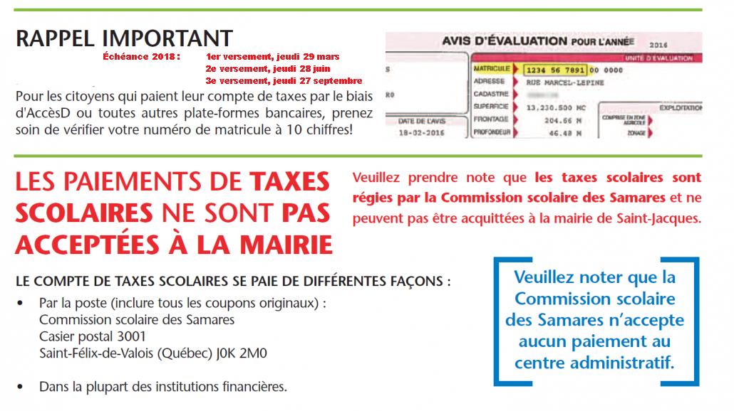 Taxes municipales - Échéance des versements 2018 @ Mairie de la Municipalité de Saint-Jacques