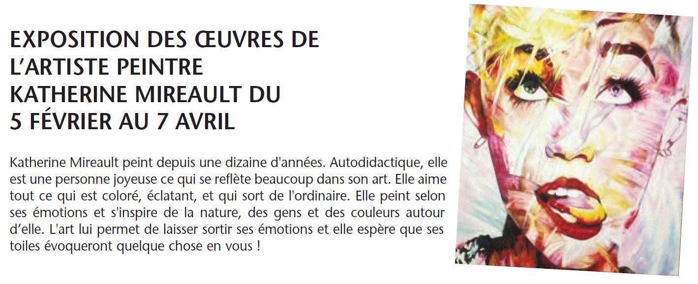 Exposition des oeuvres de l'artiste peintre Katherine Mireault @ Bibliothèque municipale Marcel-Dugas