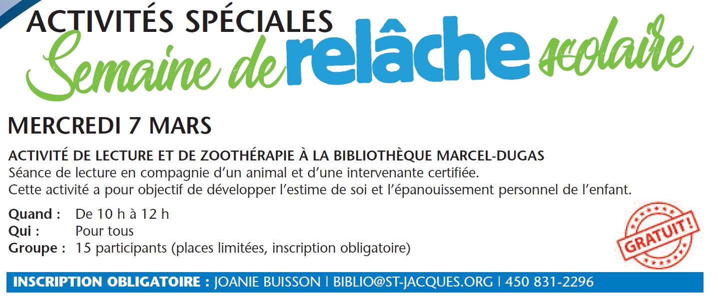 Activité de lecture et de zoothérapie @ Bibliothèque Marcel-Dugas