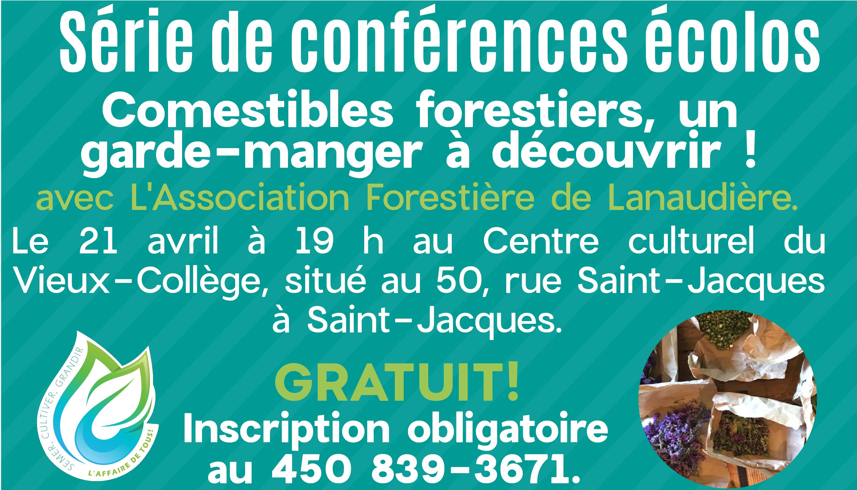 Conférence écolo | Comestibles forestiers, un garde-manger à découvrir! @ Centre culturel du Vieux-Collège