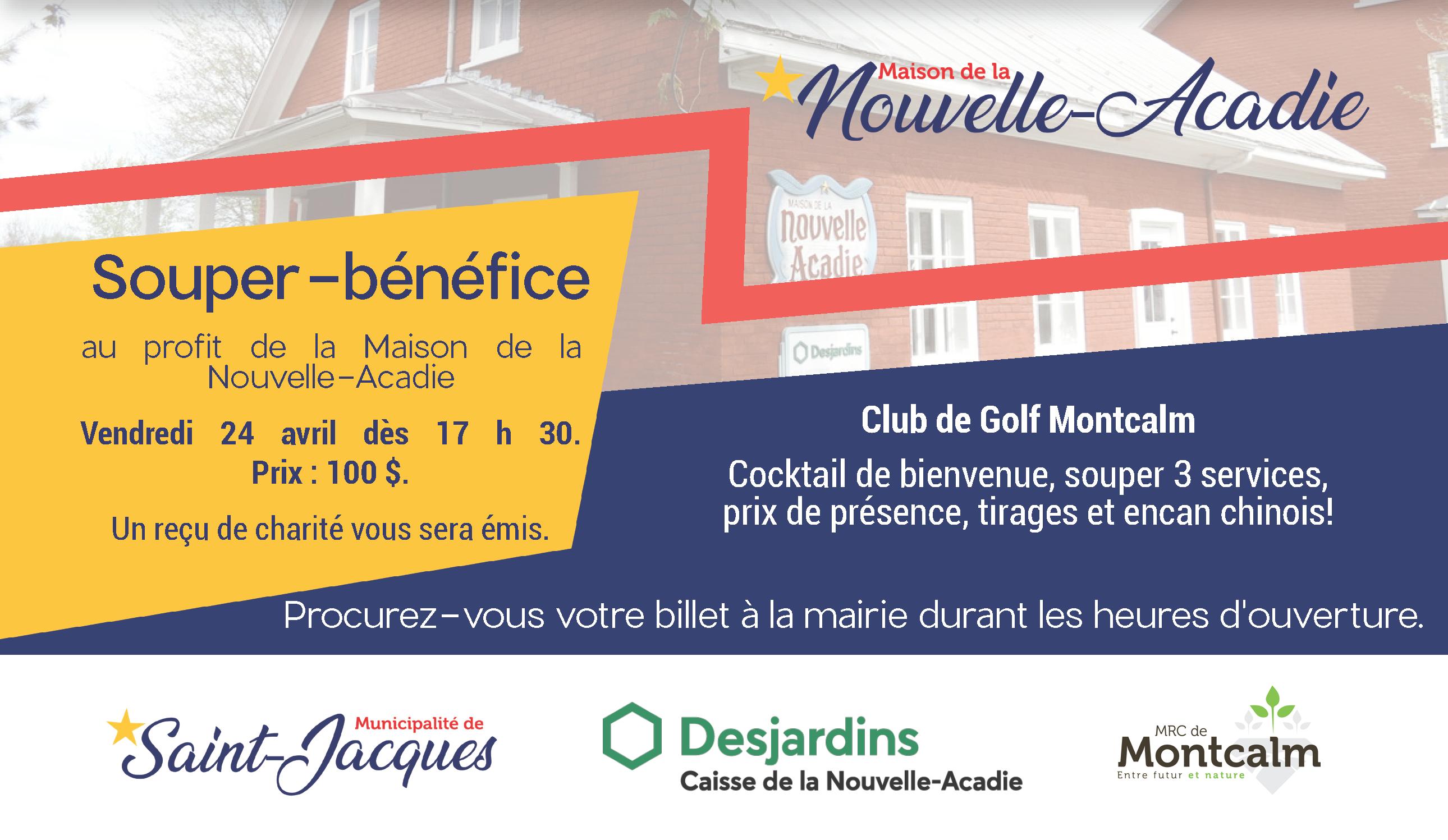 Souper bénéfice | Pour la Maison de la Nouvelle-Acadie @ Club de Golf Montcalm